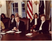 PHOTO BY THE WEDDINGTON CENTER, COPYRIGHT 2008 SARAH WEDDINGTON A White House meeting on women's issues attended by Weddington (right) and President Jimmy Carter.