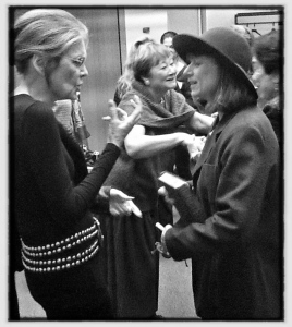 Chatting with Gloria Steinem after my Bella Abzug performance. Photo by Robin L Gallagher